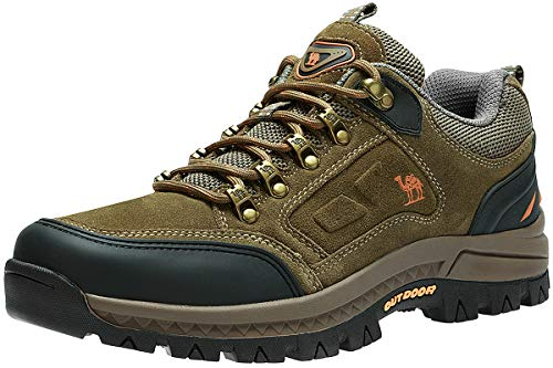 CAMEL CROWN Mens Hiking Shoes Breathable Non-Slip Sneakers Leather Low Cut Boots for Outdoor Trailing Trekking Walking (Khaki-1, 11)