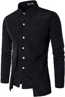 Hombre Camisa Slim Fit Manga Larga De Solapa Camicia Bluse Casual Falso 2 Piezas Irregular Camisas Moda Chic