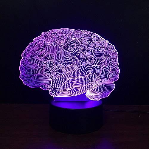 HNXDP Gehirn Buntes 3D Visuelles Licht LED Buntes 3D Touch Licht Kreatives Farbwechsel Desktop Nacht A4 Riss Basis + Fernbedienung