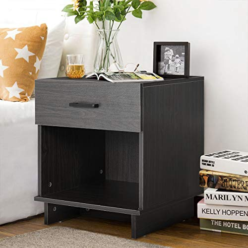 EROMMY Nightstand with Drawers, Bedside Table with Sliding Drawer and Shelf, End Tables File Cabinet Storage Table for Living Room Home Office Bedside Cabinets, Black