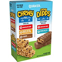 Includes 58 individually wrapped granola bars you can enjoy at home, at school, or on the go Features 12 chocolate chip, 12 peanut butter chocolate chip, and 10 s'mores flavor Chewy granola bars, plus 12 chocolate chip and 12 peanut butter flavor Che...