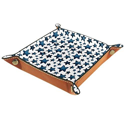 Chuangxin Big Blue Star, bandeja de escritorio de microfibra, diseño de estrella, práctica caja de almacenamiento para carteras, llaves y equipo de oficina, caja de almacenamiento para gafas, 20,5 x 20,5 cm, Multi02, 16x16cm