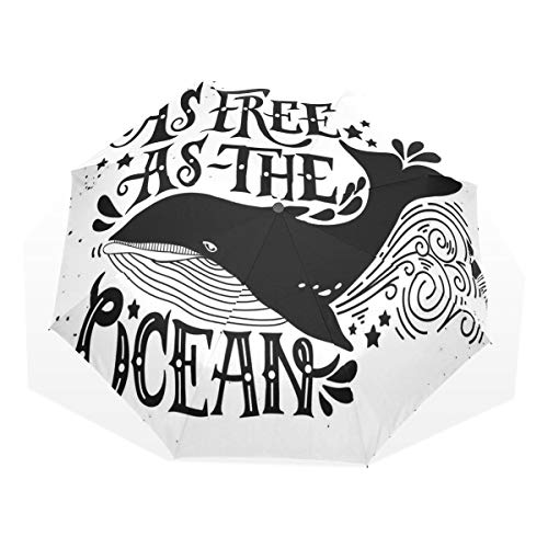 LASINSU Regenschirm,Wilder großer Wal schwimmt frei Die Inspiration der maritimen Seekunst der Ozeane,Faltbar Kompakt Sonnenschirm UV Schutz Winddicht Regenschirm