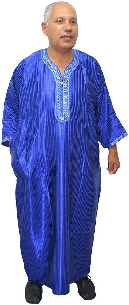 Horus Artesanía de Egipto Chilaba, Tunic, Djelaba Moroccan Arabic, Model Egypt Morocco, moslem Satin and Cotton Blue Color Measure Width 75 x 145 cm Long