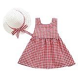 Moneycom Tenues Ete Jumpsuit Jupe Anniversaire Tulle Chic Ceremonie Mariage Enfant en Bas âge bébé Fille Plaid imprimé Arc Robe Princesse + Tenues de Chapeau Set vêtements Rouge(3-4 Ans)