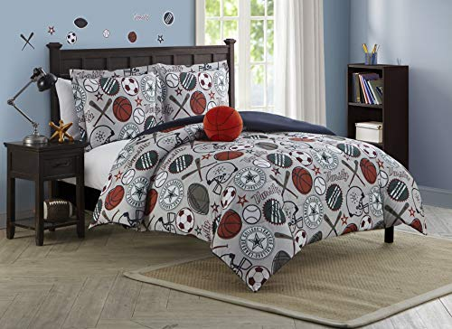Mytex Home Fashions League Sports, Kids, 4-Piece Reversible Comforter Set, Full, Gray