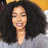 BLISSHAIR Peluca de cabello humano Rizado rizado Virginal brasileño Remy Onda de agua Peluca corta Sin cola Pelucas delanteras del cordón con la línea del cabello natural Afro kinky curly wig 16Inch