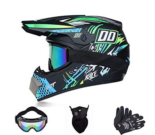Kinder Motorradhelm,Downhill Helm,Fullface Helm,MTB Crosshelm,Fahrrad Crosshelm,Motocross Helm Mit Brille Handschuhe Maske (D, S)