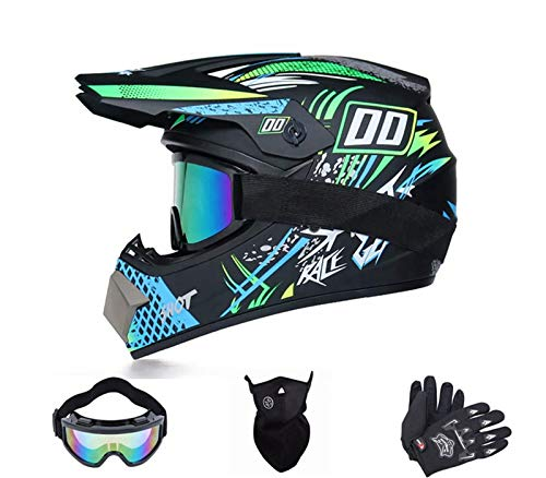 Kinder Motorradhelm,Downhill Helm,Fullface Helm,MTB Crosshelm,Fahrrad Crosshelm,Motocross Helm Mit Brille Handschuhe Maske (D, M)