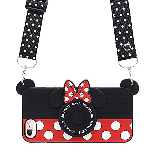 iPhone SE 2020 Case Cute iPhone 8 Case Cute iPhone 7 Case, iPhone 6S Case iPhone 6 Case Cute 3D Cartoon Minnie Mouse Camera Cover Teens Girls Women Silicone Phone Case iPhone SE 2020 8 7 6S 6 (4.7')
