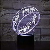 WoloShop Lampara LED Anillo Único El Señor de los Anillos ESDLA Cambia Color USB Luz Nocturna