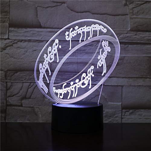 """WoloShop - Lampada LED ad anello singolo, ispirata a """"Il Signore degli Anelli"""", cambia colore, con USB, luce notturna"""