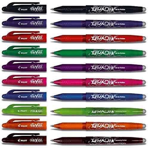 Pilot Frixion BL-FR7 Tintenrollerset, radierbar, 0, 7-mm-Spitze, Verschiedene Farben, 10 Stifte Kappenmodel (10er Packung | ohne Radierer, bunt)