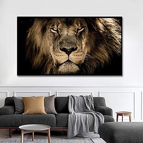 HD Africano Animal salvaje Rey Bestia León Poderoso y dominante Simba Lienzo Pintura Arte de la pared Póster Impresiones Dormitorio Sala de estar Entrada Oficina Estudio Decoración para el hogar