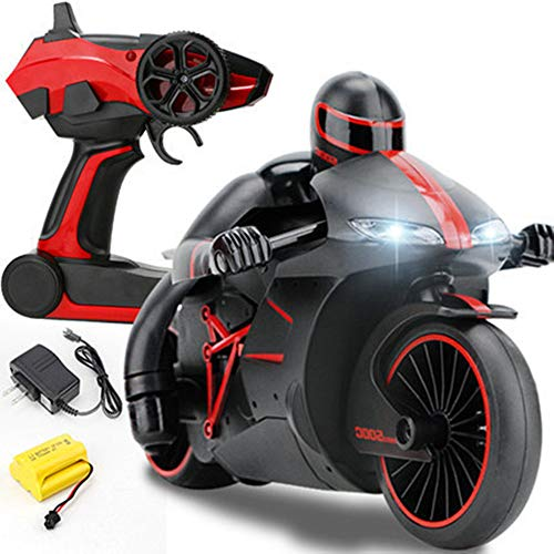 Speedy Race Lightning Remote Control Motorcycle with Rider Patrol Gyro Balanced Tilt & Lean Functions, LED Head Lights Performance Grip Motor Bike Dirt Tires Wheels 2.4 GHz Radio RC Rechargeable (Red)