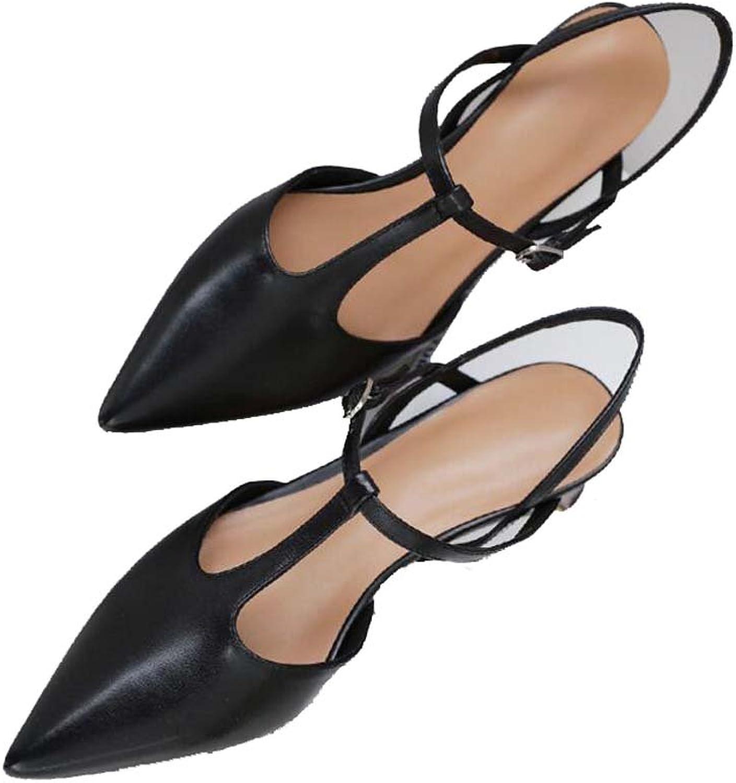 Frauen Schuhe Neue Sommer Sommer Leder T-Typ mit Feinen mit Flachen Mund Wies Mode Schuhe  Ladenverkauf Outlet