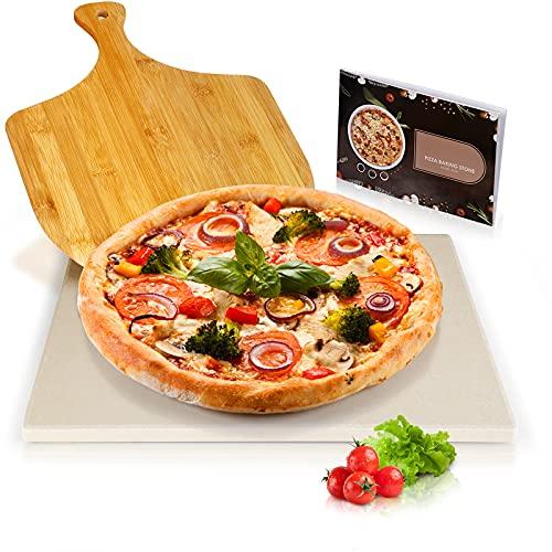 Piedra para pizza para parrilla y horno, paleta para pelar pizza de bambú gratis, piedra para cocinar de cordierita resistente al calor, piedra para hornear duradera con receta para pizza, pan, pastel