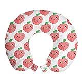 ABAKUHAUS pesca Cuscino da Viaggio, Kawaii Sorridente frutta del fumetto, Accessorio in Schiuma di Memoria per Viaggio, 30 cm x 30 cm, Pastello Rosa Bianco Verde
