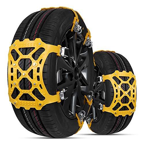 Cadena de Nieve,6pcs Universales Cadenas Nieve Coche Antideslizante de Neumático de Nieve Chains para la Mayoría de Automóvil/SUV/Camión Ancho del Neumático 165mm-285mmm