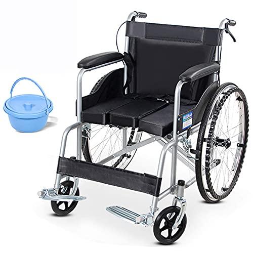 FVGBHN Tumbona Silla De Ruedas Plegable Autopropulsada De Acero para Discapacitados Y Ancianos, Fácil De Transportar, con Cubo De Inodoro, Se Puede Sentar En El Inodoro, Uso En Interiores Y