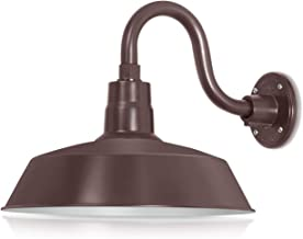 14in. Architectural Bronze Outdoor Gooseneck Barn Light Fixture With 10in. Long Extension Arm - Wall Sconce Farmhouse, Vintage, Antique Style - UL Listed - 9W 900lm A19 LED Bulb (5000K Cool White)