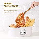 Coralov Brotkasten aus Metall mit Bambus Deckel und Toasterzangen Brotdose, Brotbox mit Luftzirkulation für langanhaltende Frische 40 x18 x12cm - 5