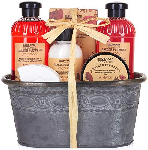 BRUBAKER Cosmetics Bade- und Dusch Set Mohnblumen Duft - 7-teiliges Geschenkset im Vintage Pflanzkübel