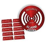 Lote de 10 pegatinas en relieve y un panel de aluminio – Alarm – Disuasorio para los ladrones – Ultra resistente a los arañazos, la lluvia, el gel y los rayos UV.