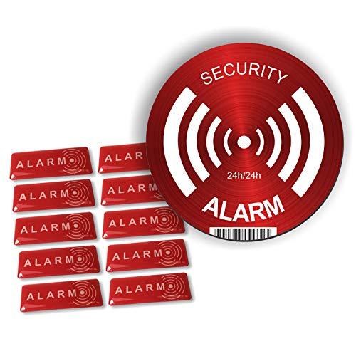 Decooo. be Pegatinas Alarm-dissuasif para los Ladrones-Ultra Resistente a los griffures, Lluvia, Gel, UV.-19mm x 49mm-2mm de Espesor