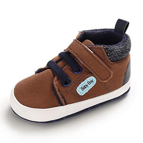 MASOCIO Babyschuhe Junge Baby Schuhe Lauflernschuhe Sneaker Weiche Sohle Braun 12-18 Monate (Hersteller Größe: 3)