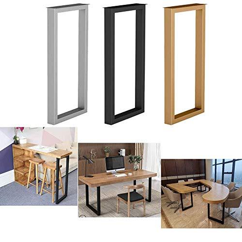 ZH-1 Tischkufen Metall schwarz für Küche Esstisch, Bistrotisch, Stehtisch,70cm/100cm Höhe, Industrielook tischbeine Möbelfüße, Silber, Gold, 1 Stück