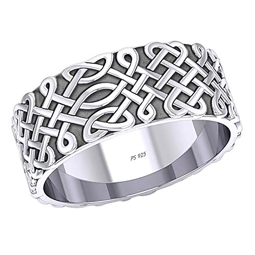 US Jewels Men's 10mm 0.925 Sterling Silver Irish Celtic Endless Knot Ring Band, 11