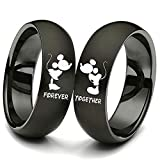 XAHH His and Hers Matching Set Couple Titanium Steel Rings Mickey Mouse Kiss Forever Together Promise Wedding Band Black【Please Buy Two Rings for one Pair】 (forever, 8)