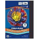 "Tru-Ray Heavyweight Construction Paper, Black, 9"" x 12"", 50 Sheets, Sulphite Construction Paper"