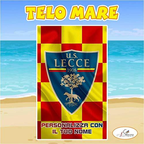 Telo Mare in spugna Lecce squadra Serie A nome personalizzato regalo estate (130cm X 180cm)