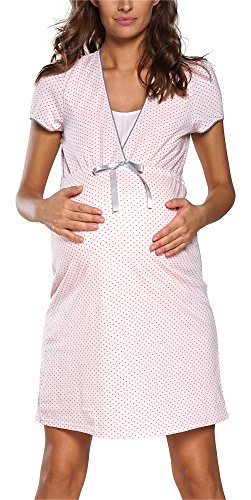 Italian Fashion IF Felicita 0114 - Camicia da notte premaman e da allattamento albicocca M