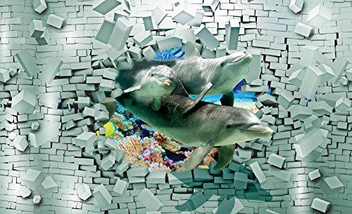 Welt-der-Träume Photo Papier peint dauphins Coming Out The Wall 3d | | Photo Papier peint 20295 _ P-ms | dauphins d'eau Océan animaux Mur briques abstrait, P8 (368cm. x 254cm.)