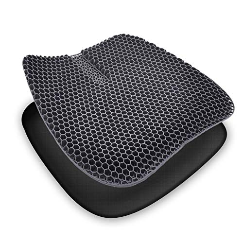Gel Seat Cushion, Double Thick Enhanced Honeycomb Design Cushion with Non-Slip Breathable Cover for Pressure Relief & Tailbone Pain, fits Computer, Office, Car & Wheelchair Chair (18 x 17 x 1.2 in)