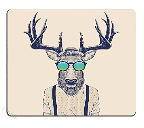 Pingpi Antlers Mouse Pad Custom,Illustration of Deer Dressed Up Like Cool Hipster Fashion Creative Fun Animal Art Print Personalized Design Non-Slip Rubber Mousepad