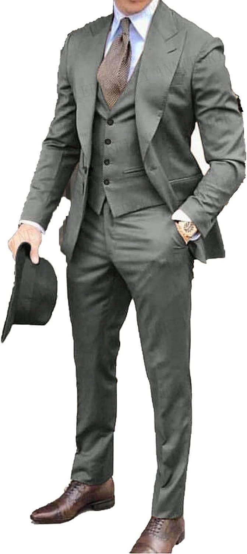 2020 Sale special price Brown Classic Men Easy-to-use Suit 3 Lapel Wedd Tuxedo Groomsmen Pieces