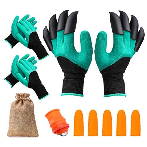 gracosy Garten Handschuhe mit Krallen Latexbeschichtete Gartenhandschuhe Wasserdicht Atmungsaktiven Arbeitshandschuhe für Haushalt und Garten Pflanz Werkzeug Handschuhe, Herren und Damen 3 Paar