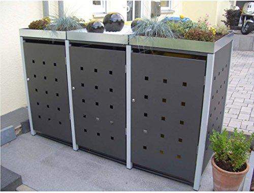 Mülltonnenbox Quadra aus Metall 3x 120 Liter mit Schloss und Pflanzdach