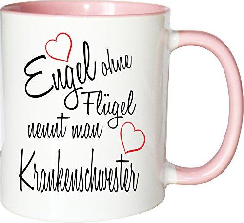 Mister Merchandise Becher Tasse Engel ohne Flügel nennt Man Krankenschwester Kaffee Kaffeetasse liebevoll Bedruckt Beruf Job Geschenk Weiß-Rosa
