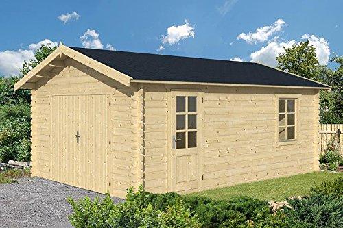Gartenhaus ROSTOCK Garage Carport Blockhaus Holzhaus 400x550 cm - 45 mm