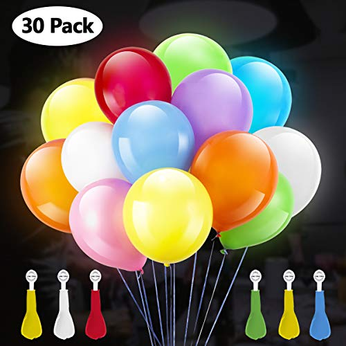 GIGALUMI LED Light Up Globos 30 Pack Color Changing LED Globo de Color Mixto para cumpleaños, Fiestas, Bodas, decoración de Festivales, Piscina y Otras Celebraciones