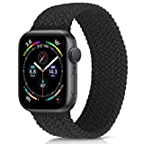 WNIPH Braided Solo Loop Watch Band Compatible with Apple Watch 42mm 44mm, Nylon Elastic Woven Replacement Sport Watch Strap for iWatch Series 6/5/4/3/2/1, SE (Black, 42mm/44mm:#6(161mm-168mm wrist))
