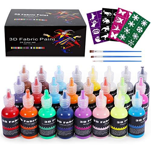 Emooqi Pintura Textil Permanente 3D, Set 24 Colores Vívidos x 30ml, Pintura Tela para Niños y Adultos, Pintura en 3D para Pintar Ropa Tejido Camisetas Madera Vaso