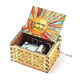 Evelure Regalo de Caja de música, Music You Are My Sunshine, Antiguo, Tallado a Mano, Madera, decoración del hogar, Idea de Regalo para niños, cumpleaños (B)