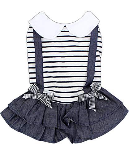 Parisian Haustier Kleidung für kleine Hunde und Katzen, Kleidung für Welpen und Jumpsuits, M, Preppy Boy Dress