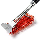 MITANpro Grill Brush, Nylon Grill Brush for Porcelain Grates, 360° Clean Grill Brush for a Cool Grill   Nylon BBQ Brush for Grill with Grill Scraper   Barbecue Cleaning Accessories